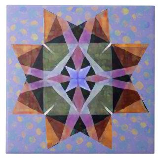 Distressed Watercolor Kaleidescopic Persian Star 2 Ceramic Tile