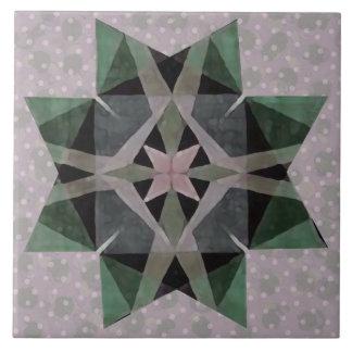 Distressed Watercolor Kaleidescopic Persian Star 3 Ceramic Tile