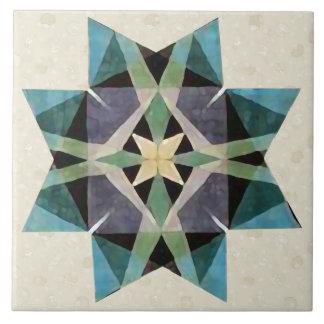 Distressed Watercolor Kaleidescopic Persian Star Tile