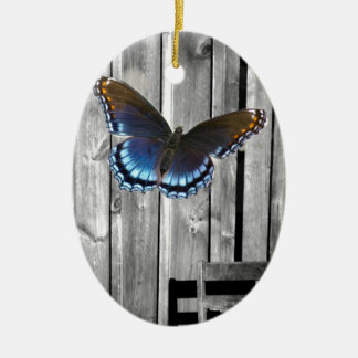 Distressed Weathered Wood Boards Blue butterfly Ceramic Ornament