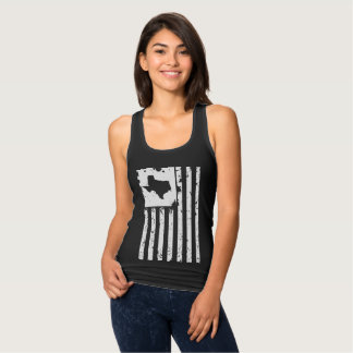 Distressed White American Flag with Texas map Singlet