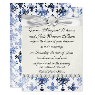 distressed white and royal blue damask pattern 11 cm x 16 cm invitation card