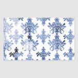 distressed white and royal blue damask pattern rectangle sticker
