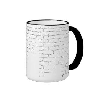 Distressed white brick wall print Coffee Cup Ringer Mug