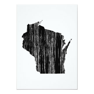 Distressed Wisconsin State Outline 13 Cm X 18 Cm Invitation Card