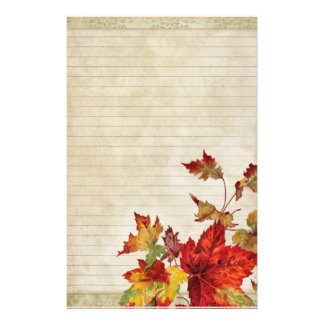 Distressed with Bright Autumn Leaves Stationery