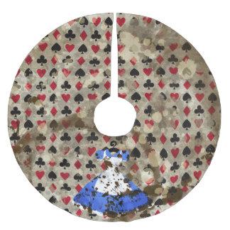 Distressed Wonderland Alice Pattern Brushed Polyester Tree Skirt
