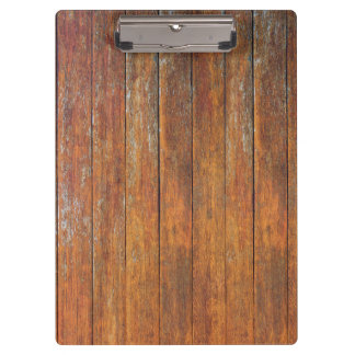 Distressed wood boards clipboard