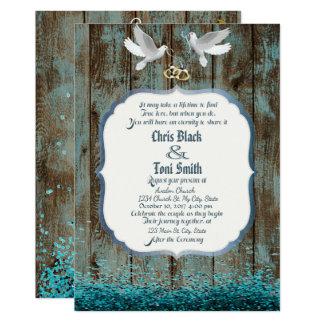 Distressed Wood & Doves Wedding Invite w/ glitter