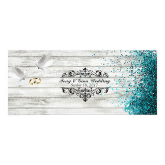 Distressed Wood & Doves Wedding RSVP w/ glitter Card