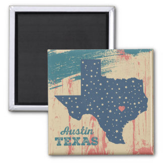 Distressed Wood Magnet - Austin Texas