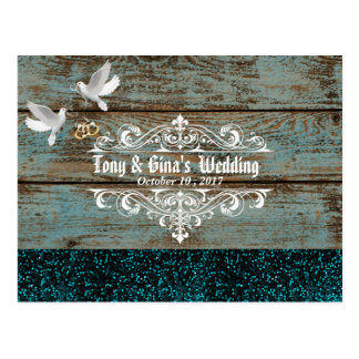 Distressed Wood W/ Doves and Glitter Wedding RSVP Postcard