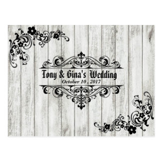 Distressed Wood Wedding RSVP Postcard