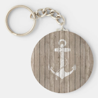 Distressed Wood with Anchor Basic Round Button Key Ring