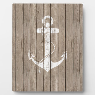 Distressed Wood with Anchor Display Plaque