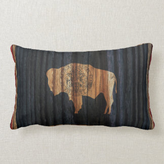 Distressed Wyoming Flag Lumbar Cushion