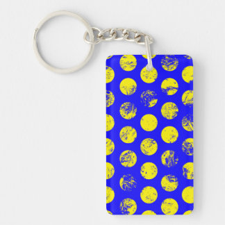 Distressed Yellow Spots on Blue Double-Sided Rectangular Acrylic Key Ring