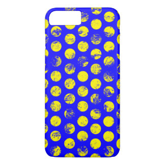 Distressed Yellow Spots on Blue iPhone 7 Plus Case