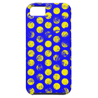 Distressed Yellow Spots on Blue Tough iPhone 5 Case