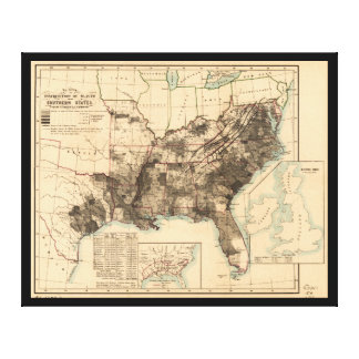 Distribution of Slaves in Southern States Map 1860 Stretched Canvas Prints