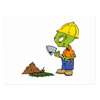 Ditch Digger Alien Postcard