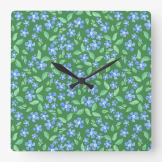 Ditsy Bright Blue Periwinkles on Green Floral Clock