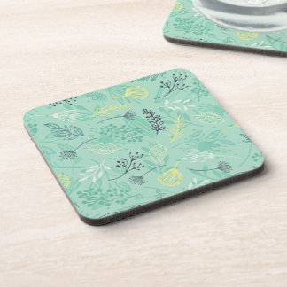 Ditsy Forest Herbs Blue Background | Coaster