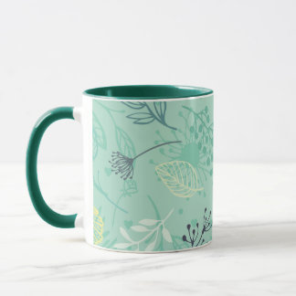 Ditsy Forest Herbs Blue Background   Combo Mug