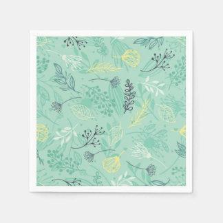 Ditsy Forest Herbs Blue Background | Napkin Disposable Serviette