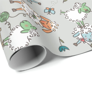 Ditsy Sheep on Grey Gift Wrap