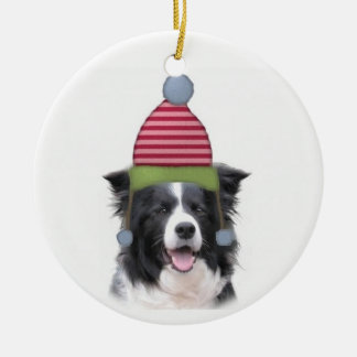 Ditzy Dogs~Original Ornament~Border Collie Ceramic Ornament