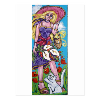 diva and her white cat postcard