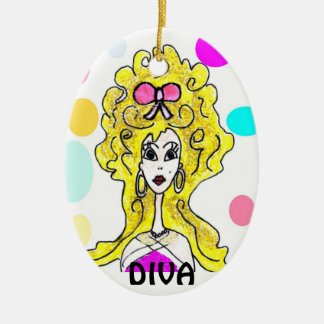 Diva Big Hair Cartoon Ornament