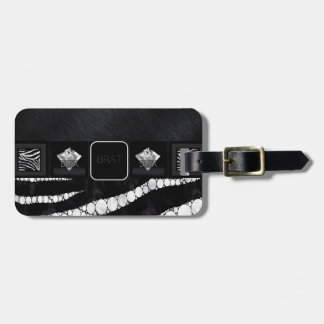 Diva Brat Zebra Bling Luggage Tag