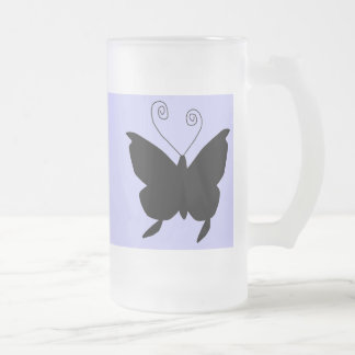 Diva Butterfly 16 Oz Frosted Glass Beer Mug