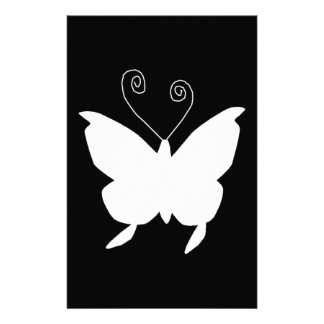 Diva Butterfly In White Personalized Stationery