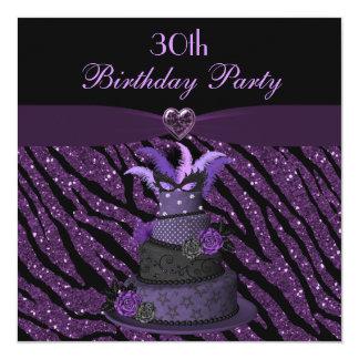 Diva Cake & Printed Zebra Glitter 30th Birthday 13 Cm X 13 Cm Square Invitation Card