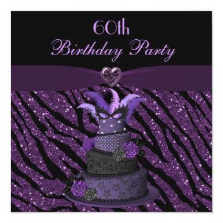 Diva Cake & Printed Zebra Glitter 60th Birthday 13 Cm X 13 Cm Square Invitation Card