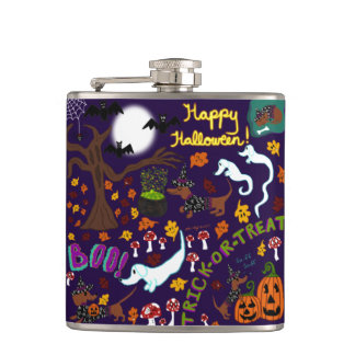 Diva Dachshund's Halloween Hip Flask