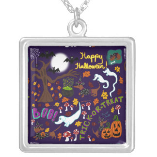 Diva Dachshund's Halloween Silver Plated Necklace