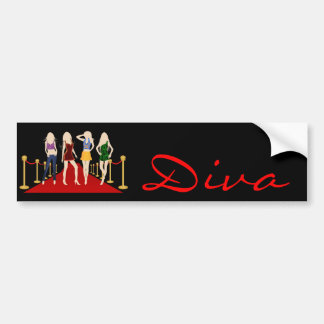 Diva Fashion Girls on Red Carpet Bumper Sticker Car Bumper Sticker