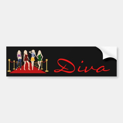 Diva Fashion Girls on Red Carpet Bumper Sticker Bumper Stickers