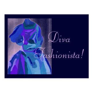 Diva Fashionista In Blue I Post Card