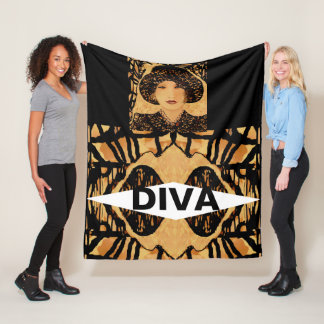 DIVA Fleece Blanket on Tan, Creme, Black