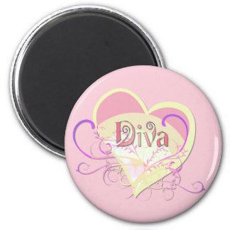 Diva Heart Fridge Magnets