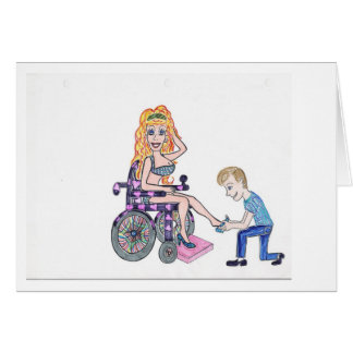 Diva in a wheel-chair with her Man at her feet Card