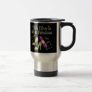 DIVA IS 40 AND FABULOUS GOLD HIGH HEEL DESIGN TRAVEL MUG
