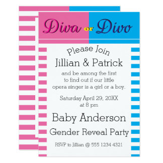 Diva or Divo Gender Reveal Baby Shower Card