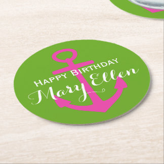 Diva Pink Anchor on Green Apple Personalized Round Paper Coaster