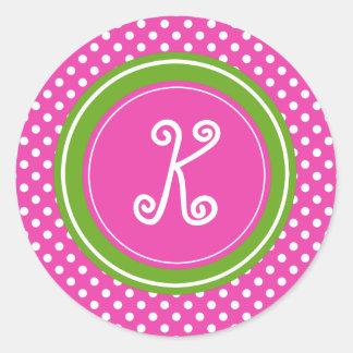 Diva Pink and Green Apple Polka Dot Monogram Classic Round Sticker
